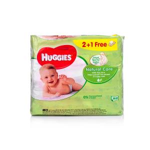 Huggies Baby Wipes Natural Care 2 plus 1 (56 pcs)
