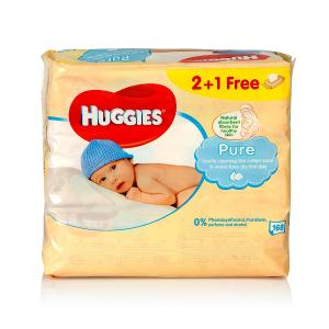 Huggies Baby Wipes Pure 2 plus 1 (56 pcs)