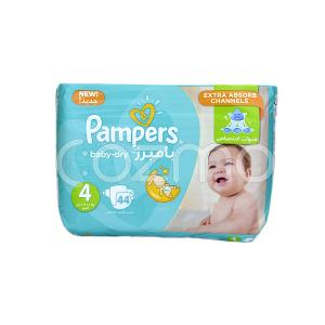 Pampers Baby-Dry Larg Diapers, Size 4 - 44 Pcs
