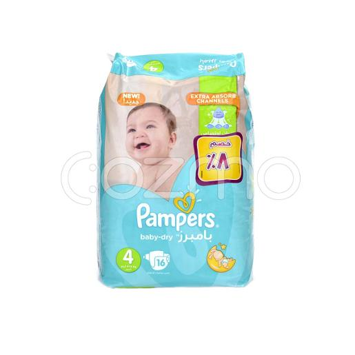 Pampers Baby-Dry Larg Diapers, Size 4 - 16 Pcs