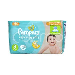 Pampers Baby-Dry Medium Diapers, Size 3 - 46 Pcs