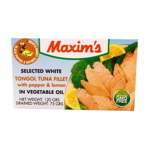 Maxim's Smoked Tongol Tuna Fillet with Pepper & Lemon in Vegetable oil (120 g)